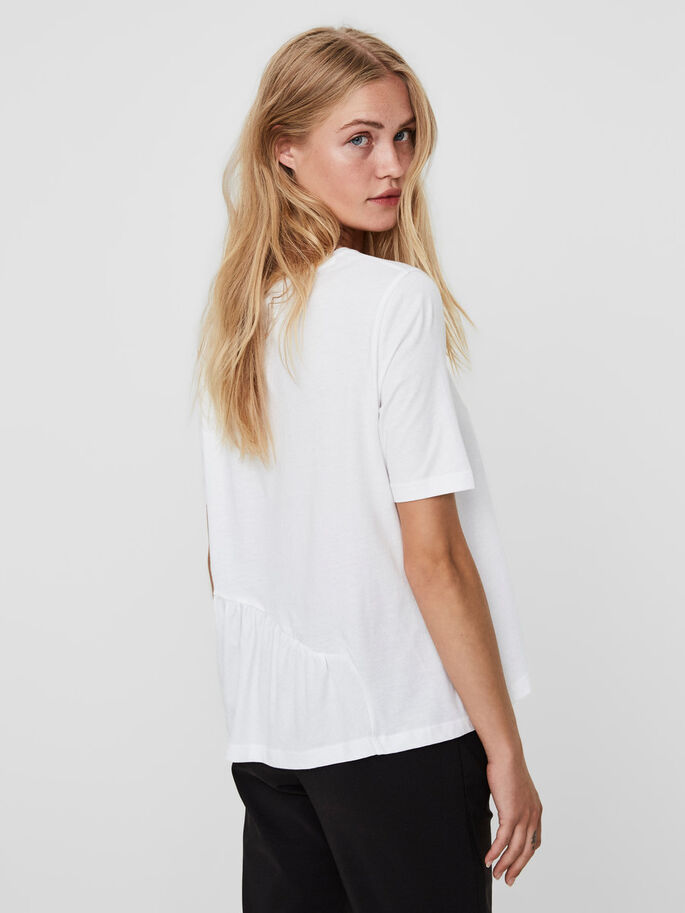 FRILL SHORT SLEEVED TOP, Bright White, large