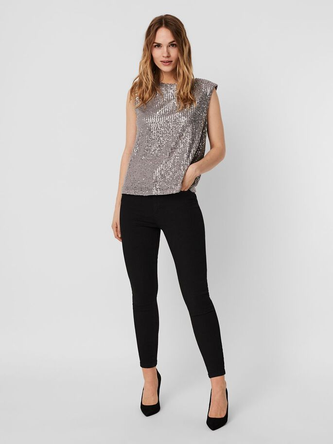 SEQUINS TOP SANS MANCHES, Ash, large