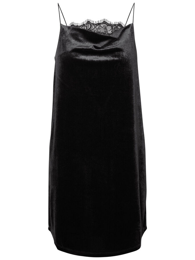 VELVET SLEEVELESS DRESS, Black, large
