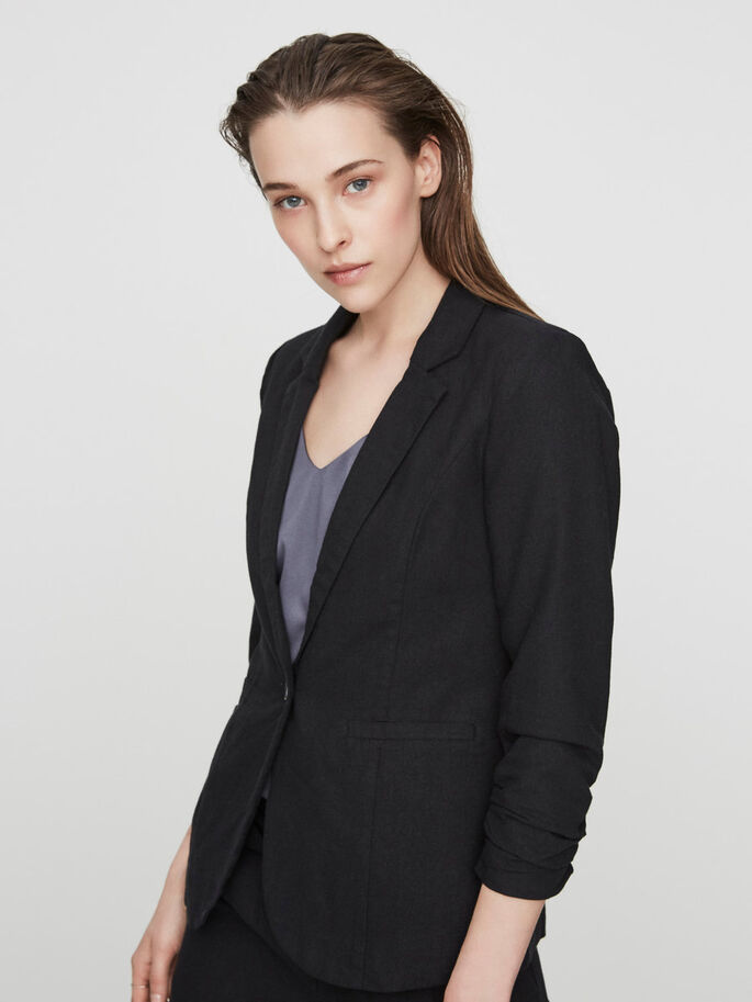 LINEN BLAZER, Black, large