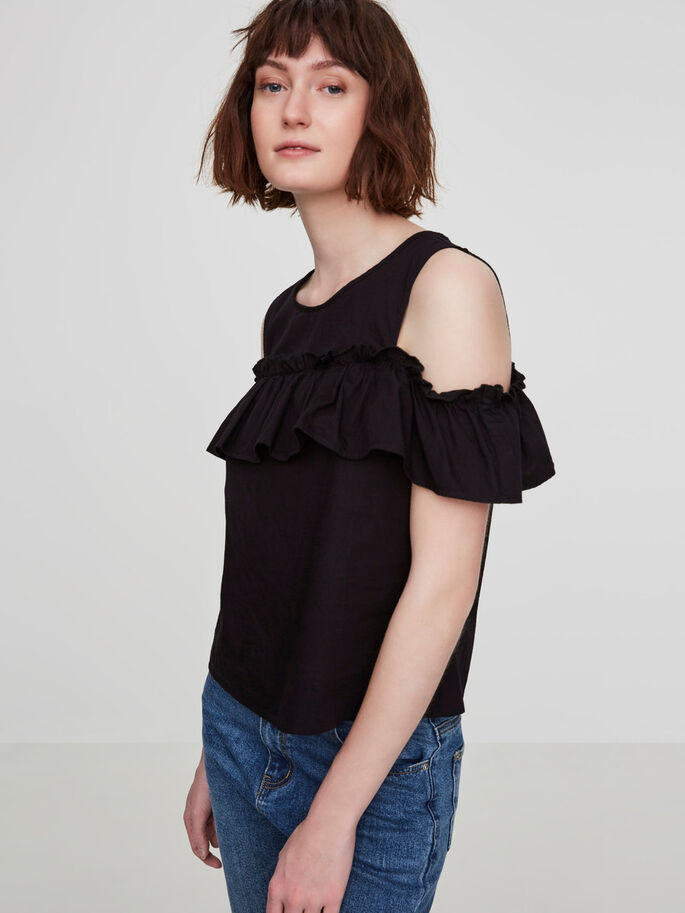COLD-SHOULDER KORTERMET TOPP, Black Beauty, large
