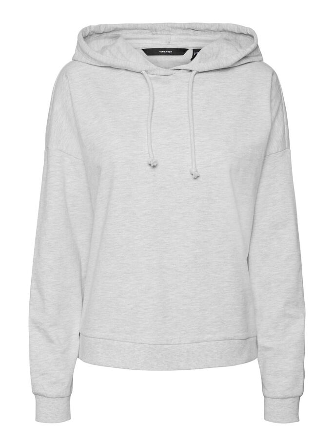 LONG SLEEVED HOODIE, Light Grey Melange, large