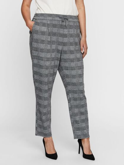 CHEQUERED NORMAL WAIST TROUSERS