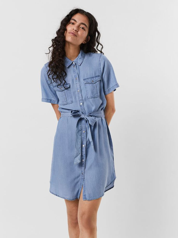 BELTED MINI DRESS, Light Blue Denim, large