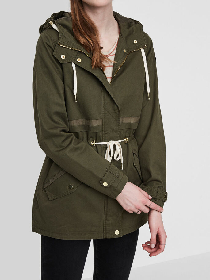 CASUAL PARKA COAT, Ivy Green, large