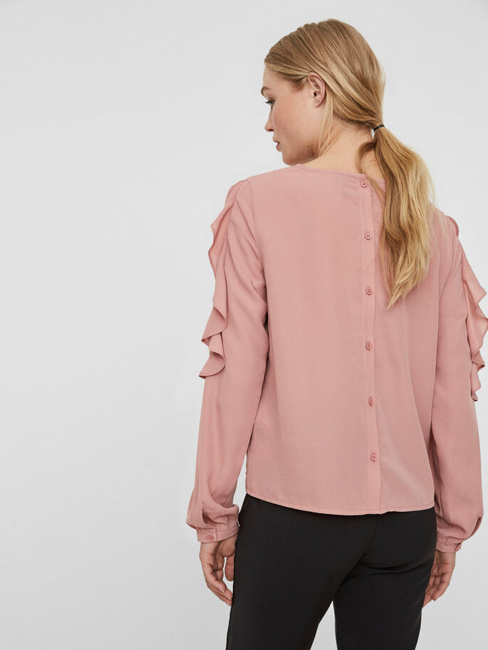 FEMININE LONG SLEEVED BLOUSE, Ash Rose, large