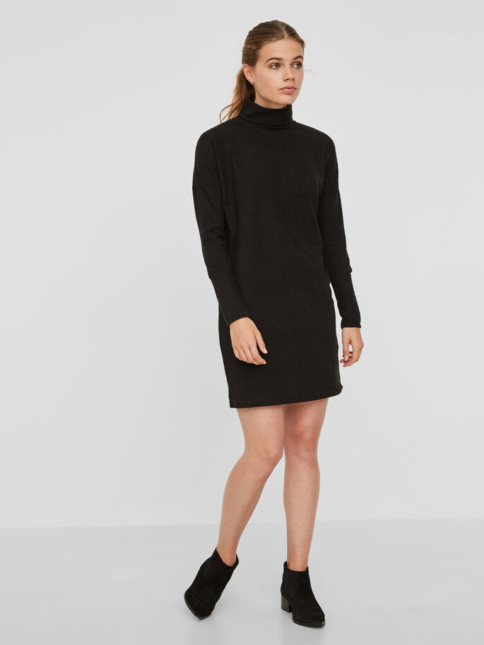 CASUAL KNITTED DRESS, Black, large