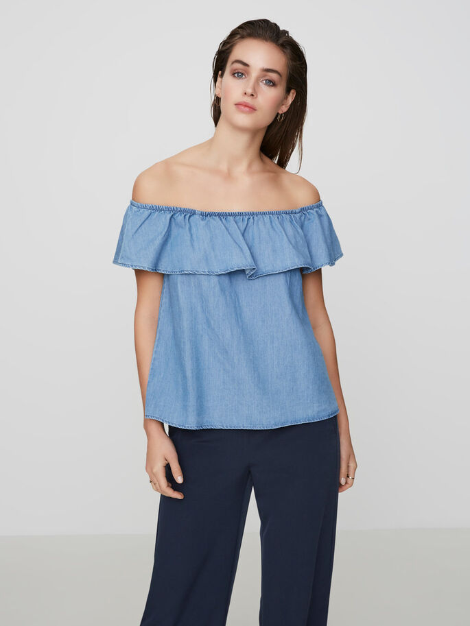 OFF-SHOULDER ÄRMLÖS TOPP, Light Blue Denim, large