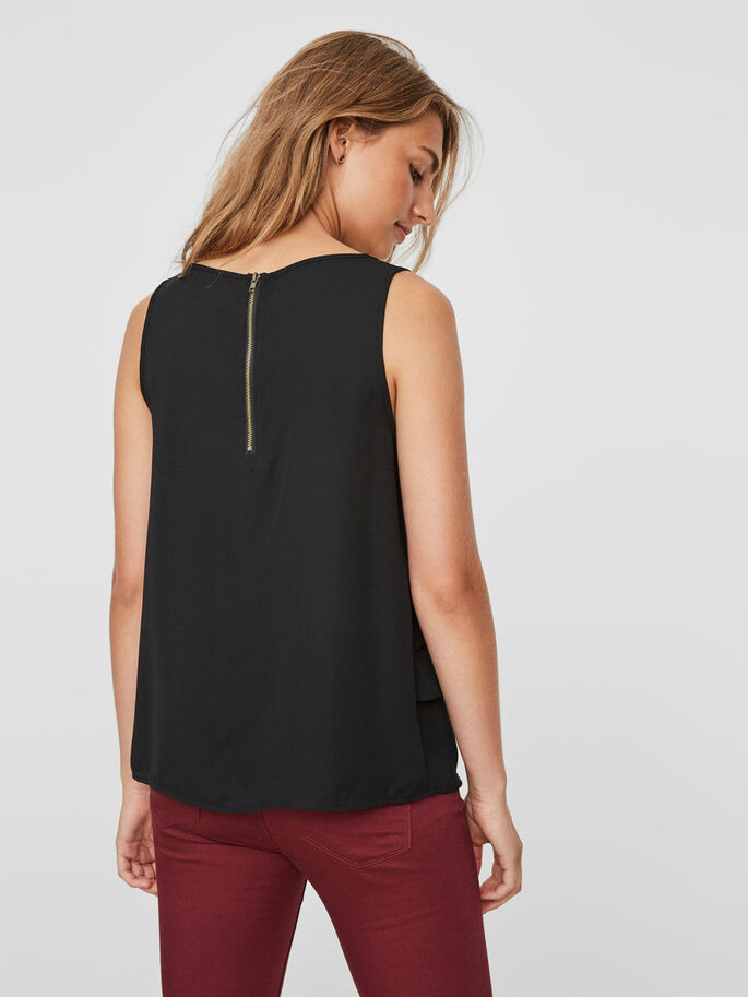 LAYERED SLEEVELESS TOP, Black, large