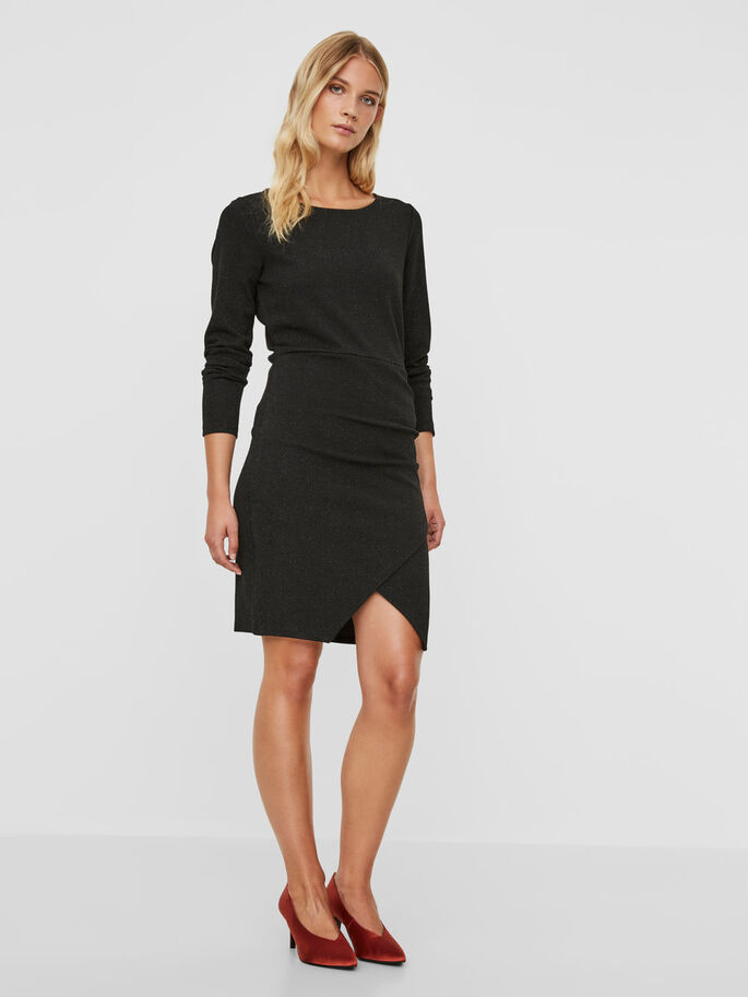 FEMININE LONG SLEEVED DRESS, Black, large