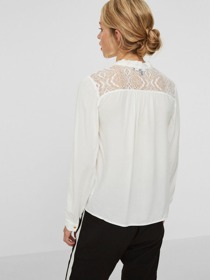LACE LONG SLEEVED BLOUSE, Snow White, large