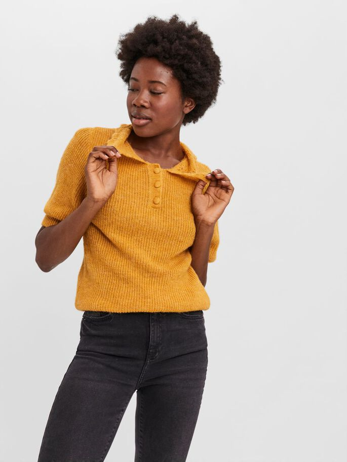 SHORT SLEEVED BLOUSE, Spicy Mustard, large