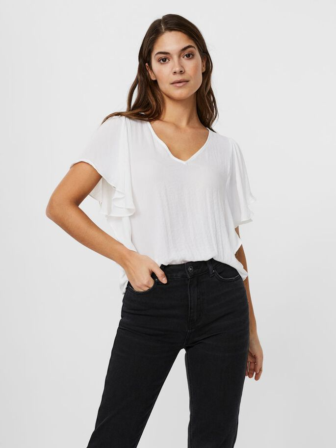O-NECK FRILL SHORT SLEEVED TOP, Snow White, large