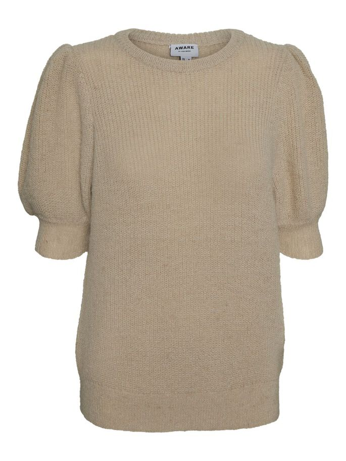 O-NECK KNITTED PULLOVER, Oatmeal, large