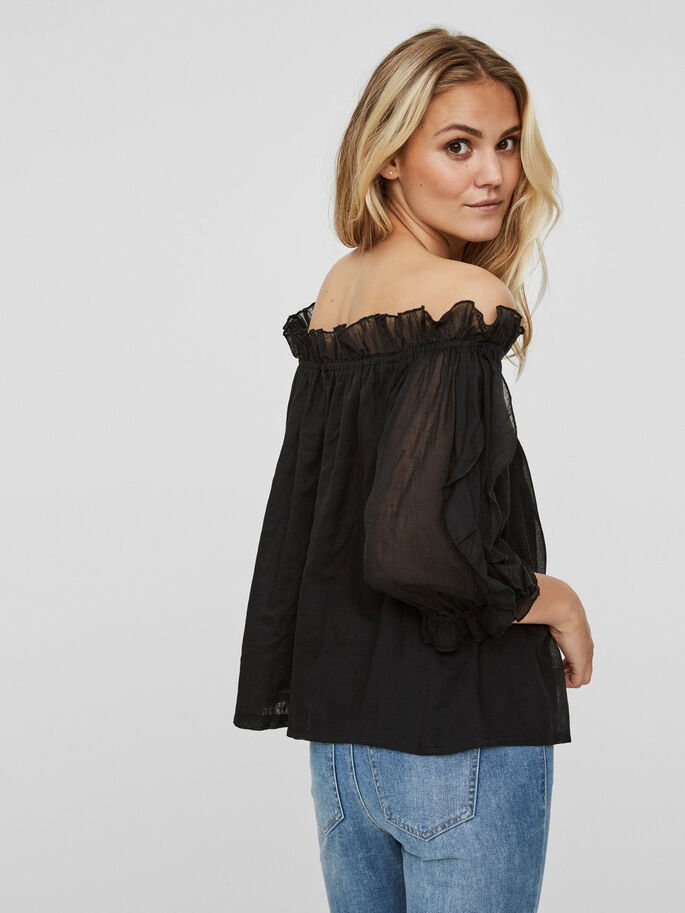 OFF-SHOULDER SHORT SLEEVED TOP, Black, large