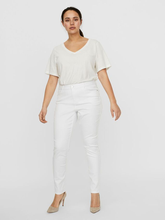 VMSEVEN NORMAL WAIST SLIM FIT JEANS, Bright White, large