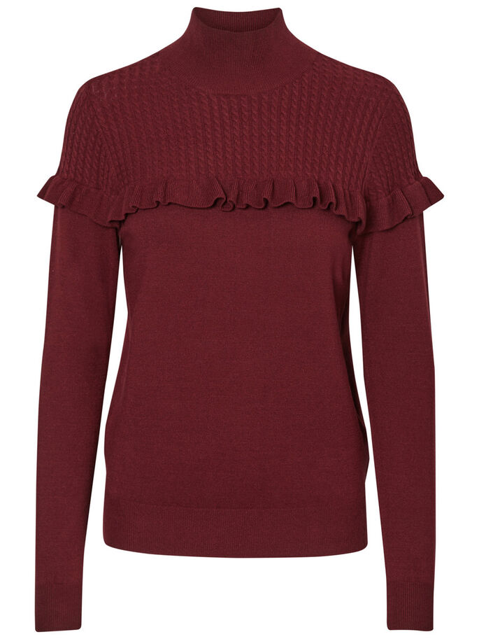FRILL LONG SLEEVED BLOUSE, Zinfandel, large