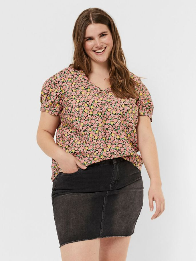 PRINTED SHORT SLEEVED TOP, Geranium Pink, large