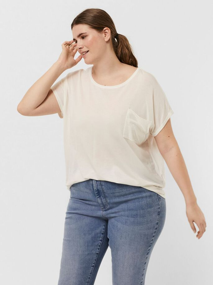 POCKET SHORT SLEEVED TOP, Snow White, large