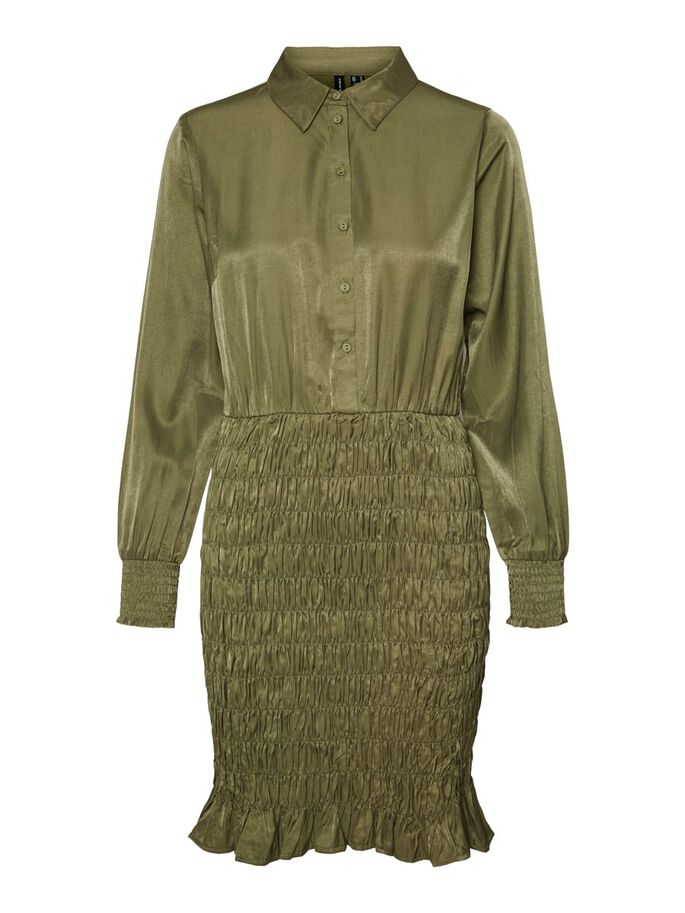 LONG SLEEVED SMOCK MINI DRESS, Ivy Green, large