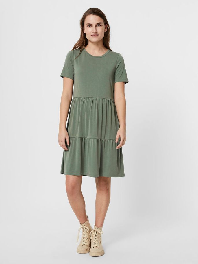 SHORT SLEEVED MIDI DRESS, Laurel Wreath, large
