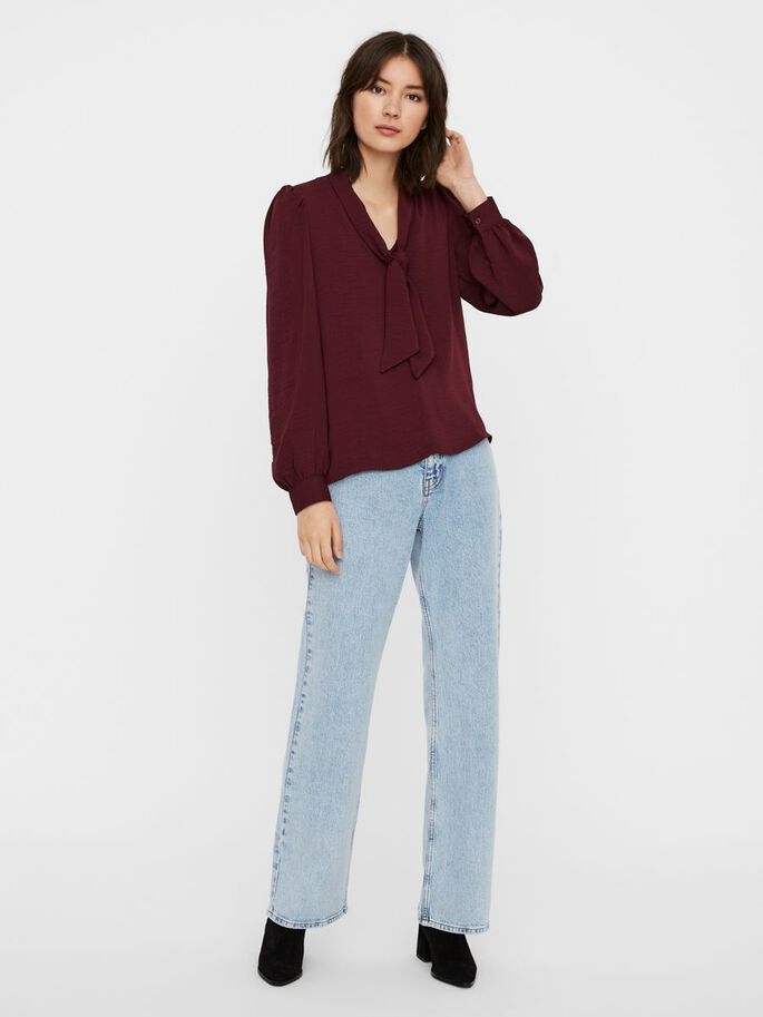 TIE NECK LONG SLEEVED TOP, Fig, large