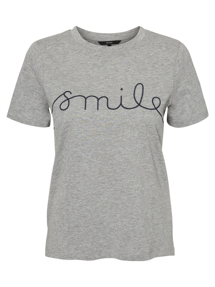 CASUAL SMILE T-SHIRT, Light Grey Melange, large