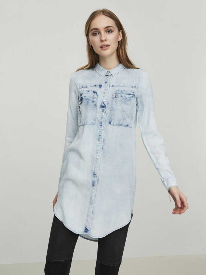 LONG DENIM SHIRT, Light Blue Denim, large
