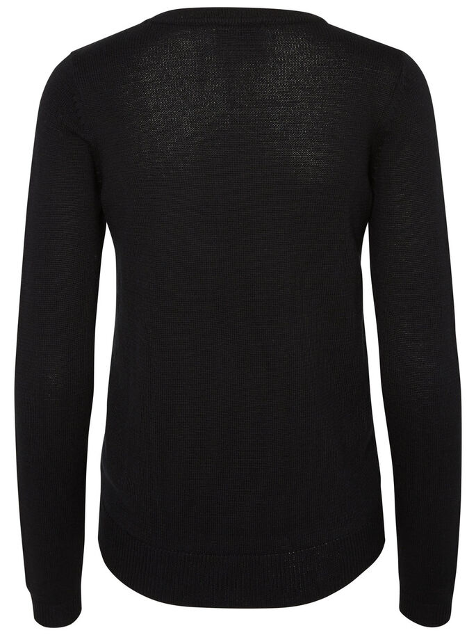 CASUAL KNITTED PULLOVER, Black, large