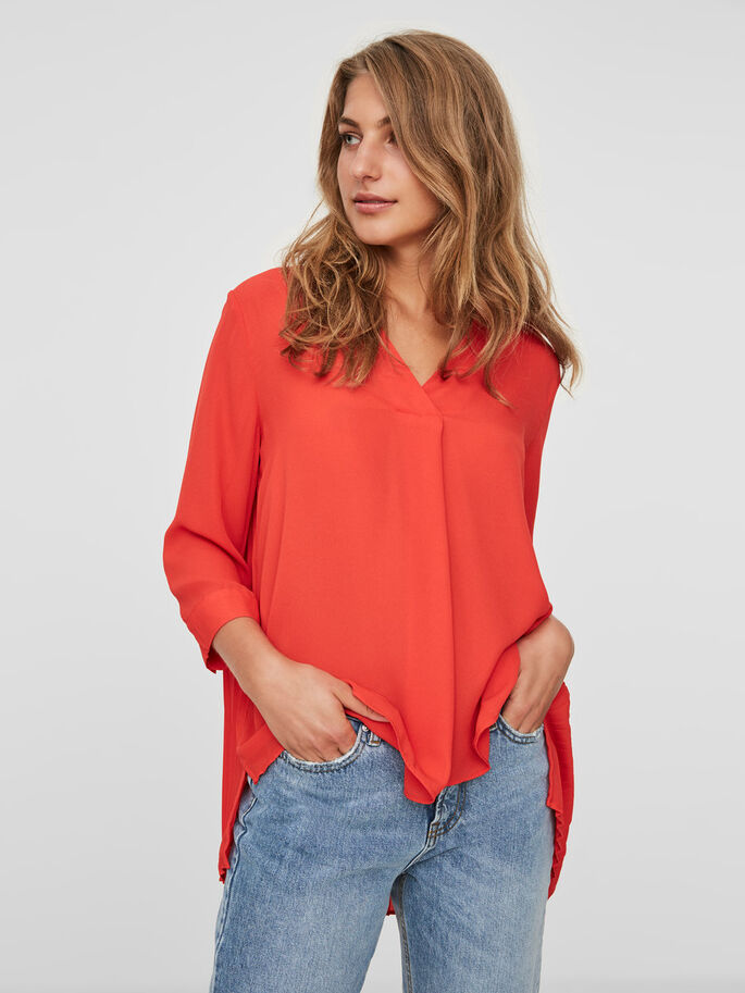 FEMININE 3/4 SLEEVED TOP, Flame Scarlet, large