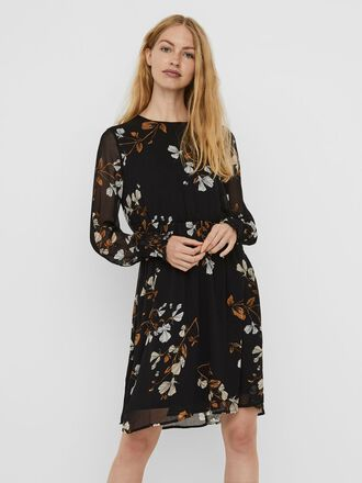 PRINTED LONG SLEEVED MINI DRESS
