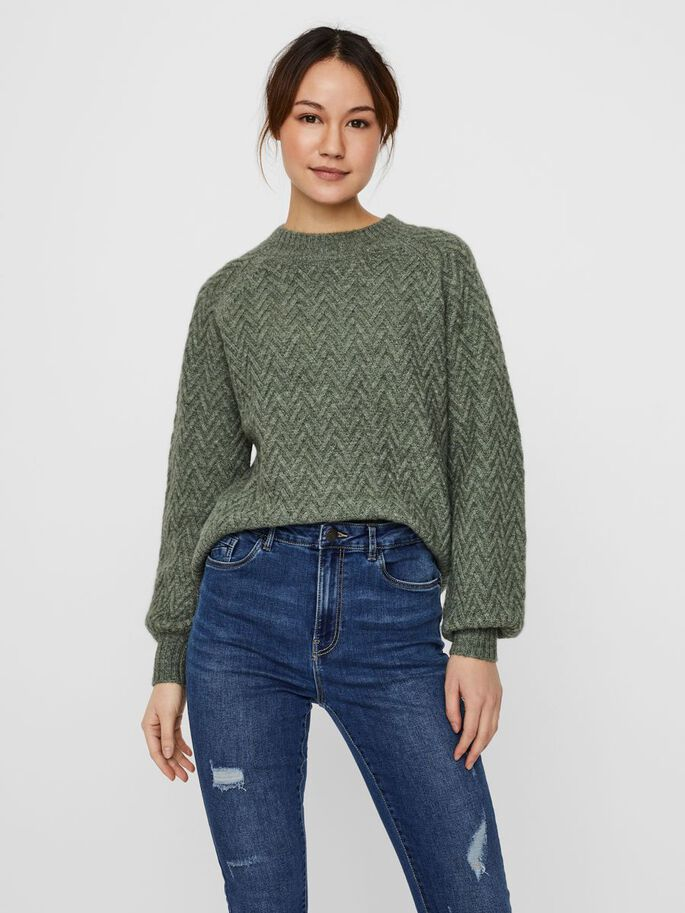 O-NECK KNITTED PULLOVER, Laurel Wreath, large