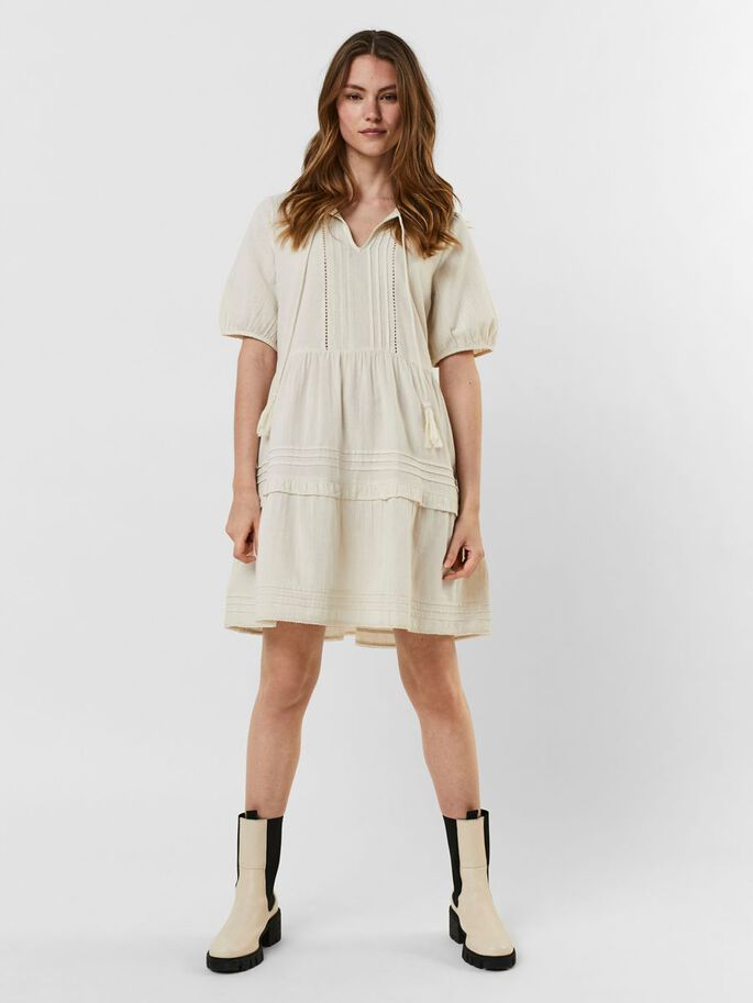 EMBROIDERED MINI DRESS, Birch, large