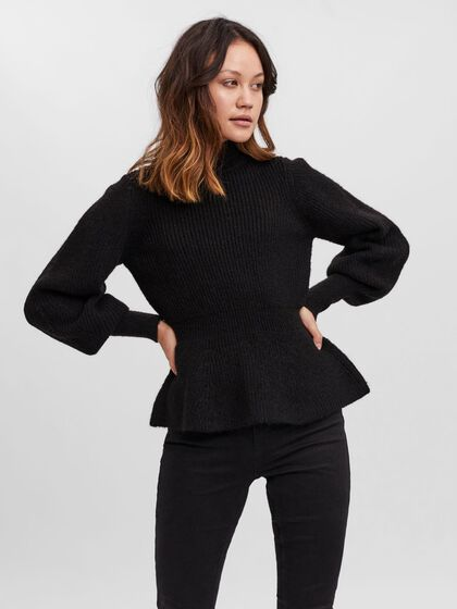 PEPLUM KNITTED PULLOVER