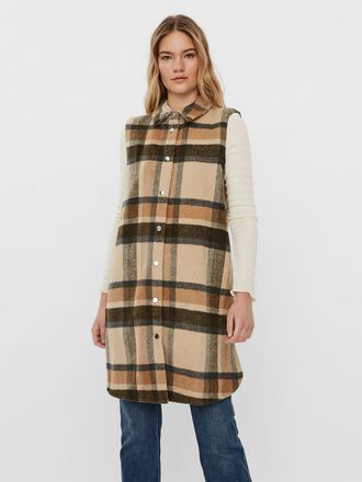 LONG CHECKED VEST