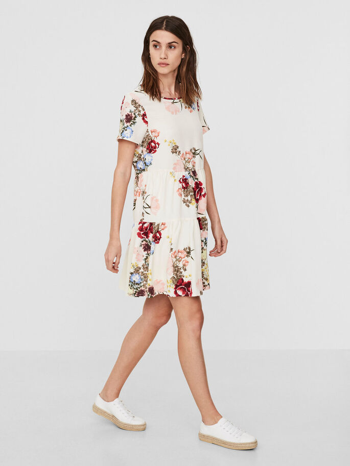 FLOWER SHORT SLEEVED DRESS, Antique White, large