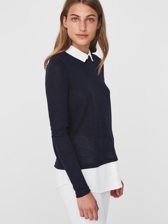 SHIRT BLOUSE, Navy Blazer, large