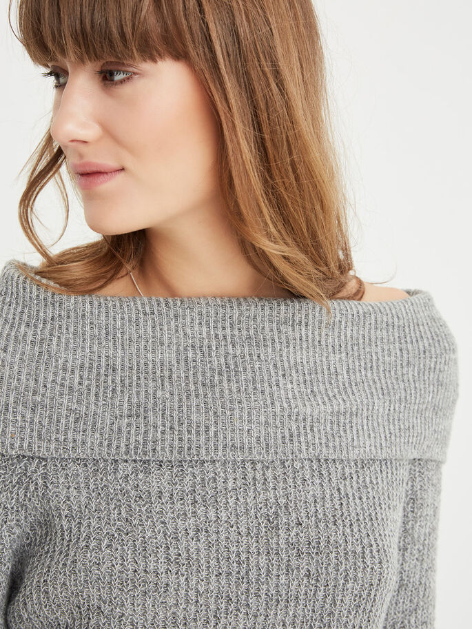 OFF SHOULDER KNITTED PULLOVER, Medium Grey Melange, large