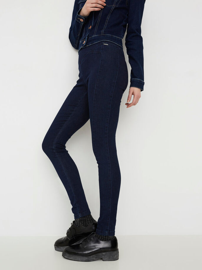 HW SKINNY FIT BROEK, Dark Blue Denim, large