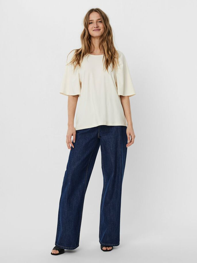2/4 SLEEEVED TOP, Birch, large