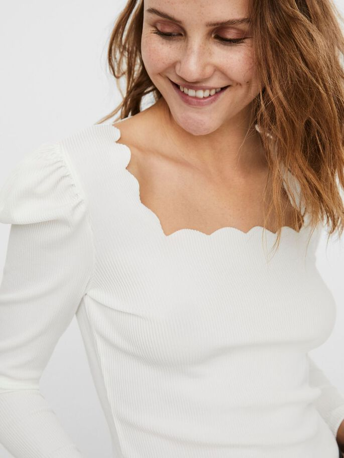 RIBBED LONG SLEEVED TOP, Snow White, large