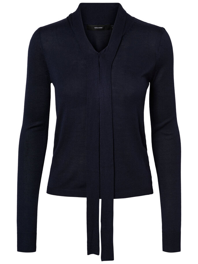 FEMININE KNITTED TOP, Navy Blazer, large