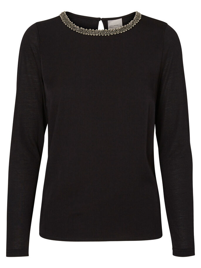 FEMININE LONG SLEEVED TOP, Black, large