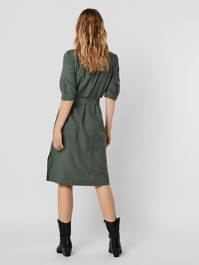 2/4 SLEEVED MIDI DRESS, Laurel Wreath, large