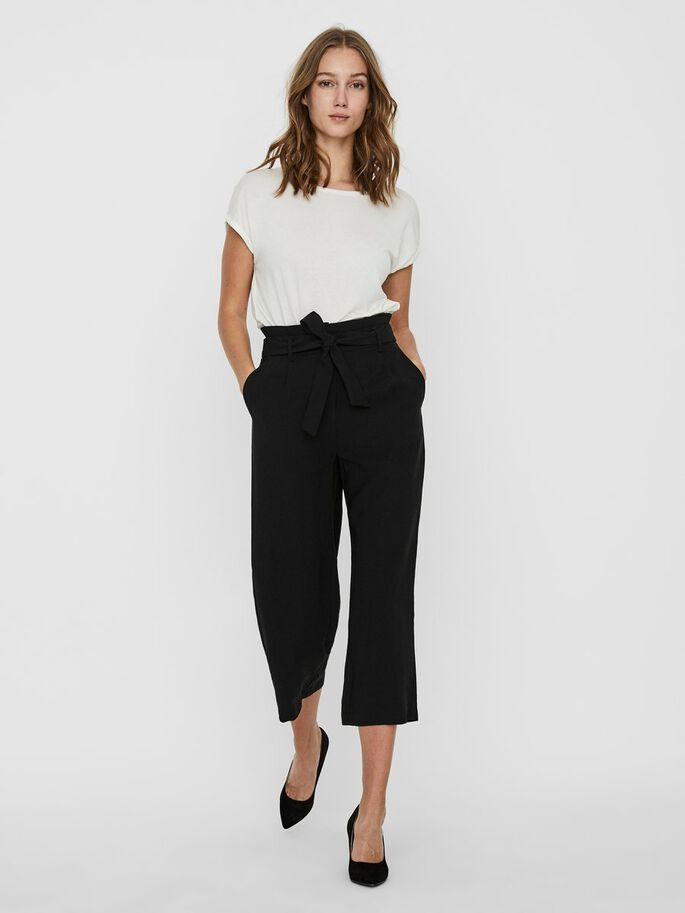 CULOTTE TROUSERS, Black, large