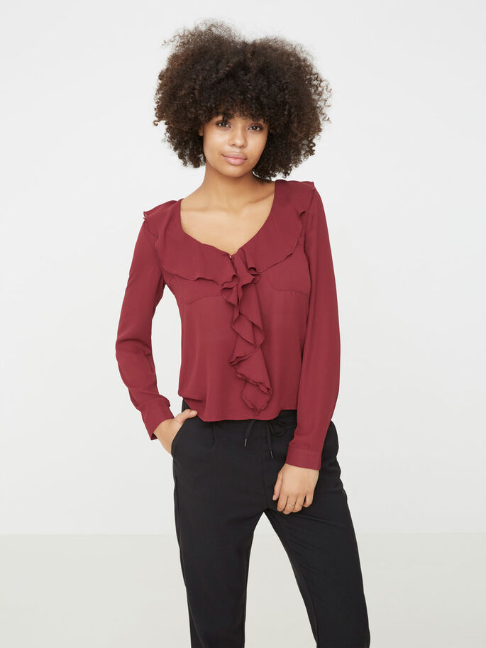 FEMININE LONG SLEEVED BLOUSE, Zinfandel, large