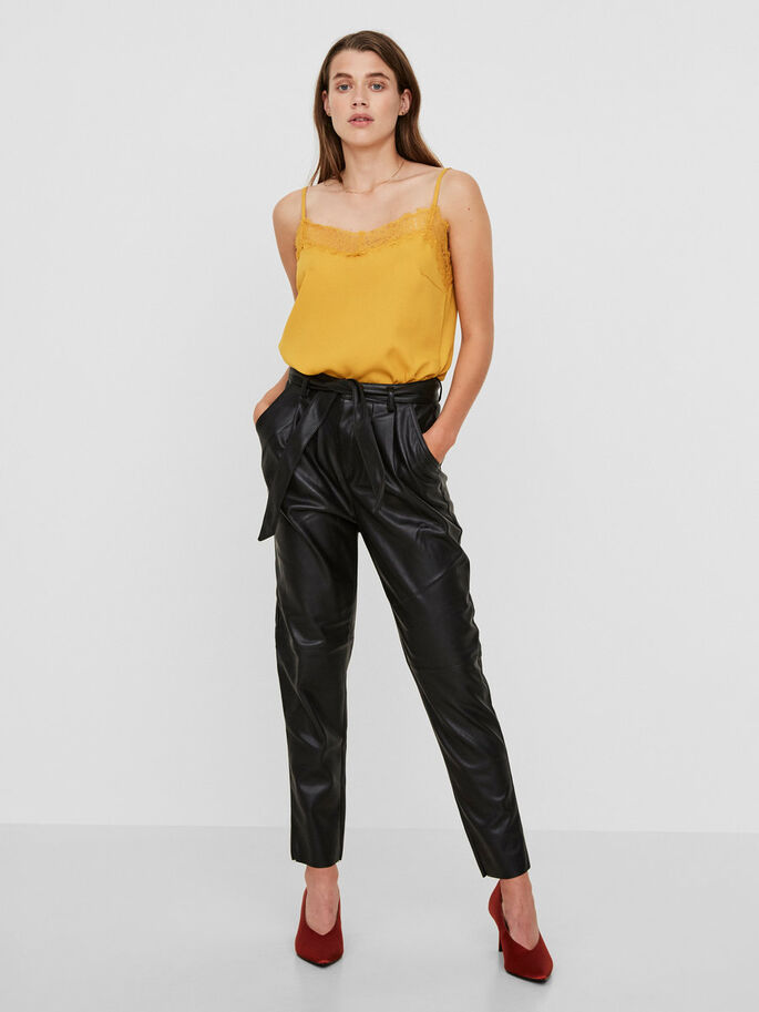 HW LEATHER-LOOK TROUSERS, Black, large