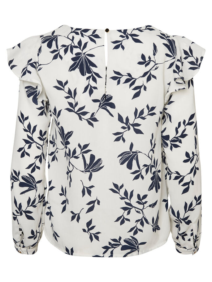 FLOWER LONG SLEEVED BLOUSE, Snow White, large