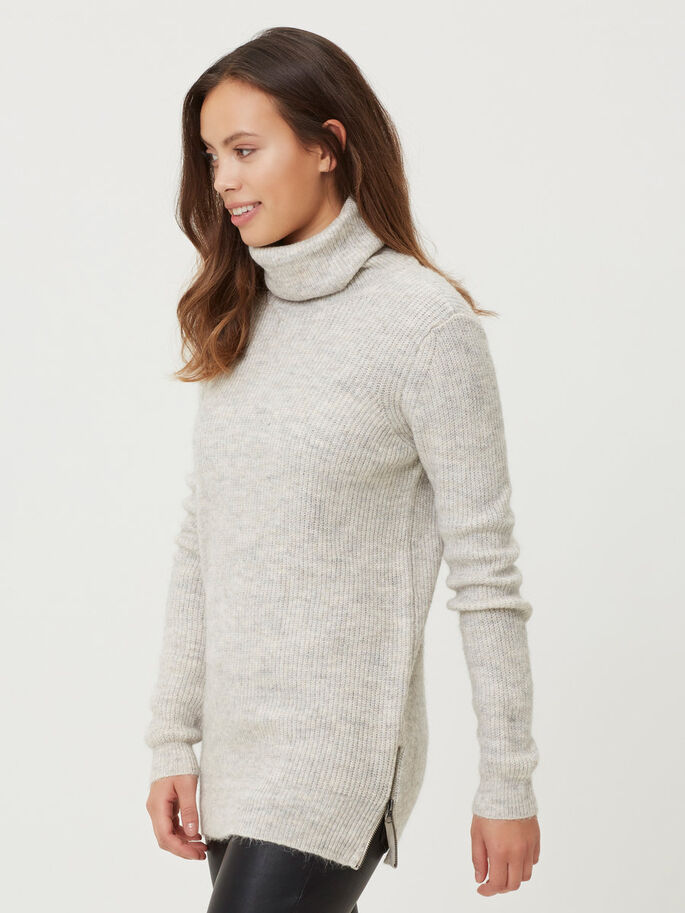RULLEKRAVE STRIKKET PULLOVER, Light Grey Melange, large