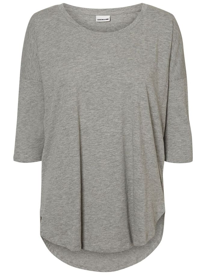 CASUAL BLUSE MED 3/4-ÆRMER, Light Grey Melange, large
